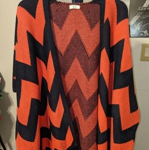 Coral and Navy Poncho